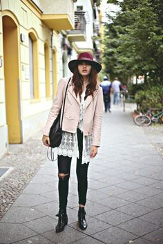 Jacket: natalie off duty blogger jeans shoes t-shirt ripped jeans hat hipster felt hat
