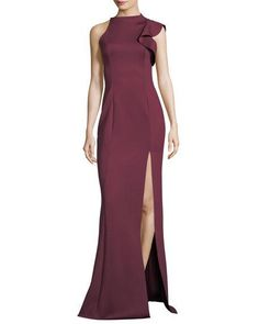 Black Halo Pabla Neoprene Sleeveless Evening Gown w/ Slit Neoprene Gown, Simple Party Dress, Burgundy Gown, Dress Outfits, Dress Up, Long Evening Gowns, Evening Bags, Groom Dress, Groom Attire