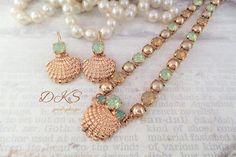 Island Style, Swarovski Necklace Set, Beach Wedding, Seashell, Pearls, Mint Green, Rose Gold, DKSJewelrydesigns, FREE SHIPPING