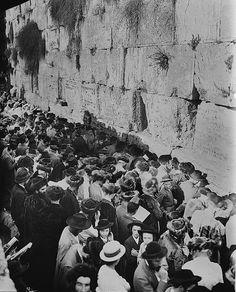 Yom Kippur 1904 , judíos palestinos ashkenazim y sefaradim en el Kótel, hombres y mujeres. Posteriormente, durante la ocupación jordana de Jerusalén, los ciudadanos entonces palestinos judíos tenían prohibido incluso llegar a la ciudad antigua.