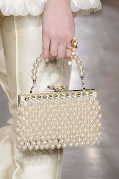 Georges Hobeika at Couture Spring 2017 - Details Runway Photos Georges Hobeika, Beaded Purses, Beaded Bags, Fashion Bags, Fashion Accessories, Couture Fashion, Sacs Design, Pearl And Lace, Vintage Bags
