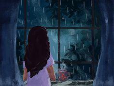 lonely rain by Tahorin Binta Jaman Animated Love Images, Animated Gif, Rain Animation, Rain And Coffee, Coffee Gif, Girl In Rain, Rain Gif, Rain Photography, Color Photography