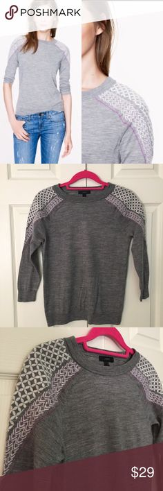 """J. Crew Embroidered Shoulder Tippi Merino Sweater heathered gray merino wool Tippi sweater with embroidered detail on shoulder and 3/4 sleeve. 100% merino wool. excellent pre-owned condition. size x-small. bust flat is 17.5"""", length is 23"""". J. Crew Sweaters Crew & Scoop Necks"""