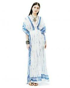 White Blue Tye-Dye Maxi Poncho