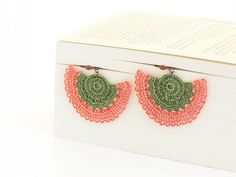 Peach Green Crocheted Earrings by Pinara Design, via Flickr