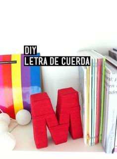 DIY: Cómo forrar una letra de cartón con cuerda de algodón.