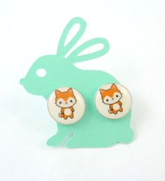 """EARRINGS Cute Fox Post Earrings.  1/2"""" or 13 mm. Stud  Earrings. Easter Gift. Comes on a Handmade Rabbit Shaped Card  Ready For Gift Giving. by buttonsbyrobin on Etsy"""