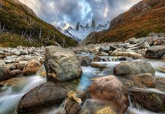 Getting to this position was not as long a hike as the others around Patagonia, but it was no cakewalk! It was one of those strange river-rock strewn areas where the rocks seemed to be the perfect size for spraining your ankles. - Patagonia, Argentina - P Fishing Photography, Hdr Photography, Photography Portfolio, Amazing Photography, Better Photography, Adventure Photography, Photography Website, Landscape Photography, Fotografia Hdr