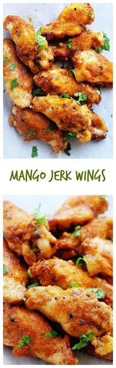 Mango Jerk Wings - turn conventional chicken wings up a million notches with the amazing jerk flavor of Jamaica and the tropical sweetness of mangoes. I Love Food, Good Food, Yummy Food, Tasty, Chicken Wing Recipes, Baked Chicken, Jerk Chicken, Grilling Recipes, Cooking Recipes