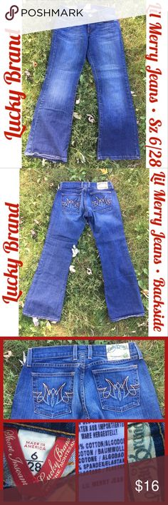 Lucky Brand Lil Merry Lt Medium Wash Jeans Sz 6/28 These are in great condition and no rips or tears on the bottom lining. These are from lucky brand and are Lil Merry jeans. They are Wide Leg blue jeans. They are a light medium wash. The inseam is 29 1/2. Retail for $89.50. Open for bundling or offers. Lucky Brand Jeans Flare & Wide Leg