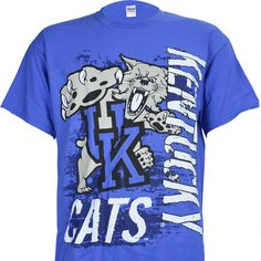 UK University of Kentucky SUPER CATS on Short Sleeve Royal Blue