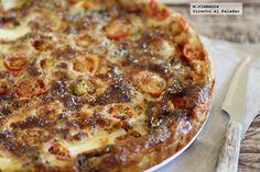 Tarta salada de mozarrella, tomate y sardinas