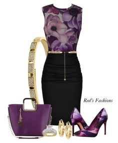 """Purple Passion"" by redsfashions ❤ liked on Polyvore featuring Michael Kors, Versace, Paule Ka, Ted Baker, Forever New and Signature Gold"