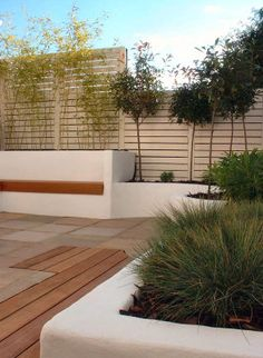 White rendered walling with an inset hardwood bench, painted timber screening and architectural style planting. The garden is in central Brighton.