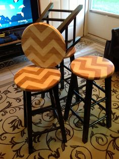 Chevron painted and stained bar stools.