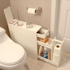 Looking to free up some room in your medicine cabinet without losing all your floor space? Look no further than this Space Saving Bathroom Floor Cabinet in White Wood Finish to serve your bathroom storage needs. Space Saving Bathroom, Small Bathroom Storage, Bathroom Organization, Organization Ideas, Trailer Organization, Bedroom Storage, Space Saving Kitchen, Diy Bedroom, Apartment Space Saving