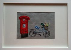A free motion embroidery picture called 'Posting a Letter'.