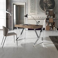 Porto Lujo- Vela- Contemporary Study Desk in Walnut and Steel Bureau Design, Contemporary Office Desk, Contemporary Furniture, Modern Home Offices, Study Desk, Decoration Design, Drafting Desk, Office Furniture, Modern Design