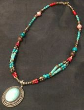 Turquoise Coral Necklace Silver Plated Nepal Tibetan Vintage Gypsy India Boho