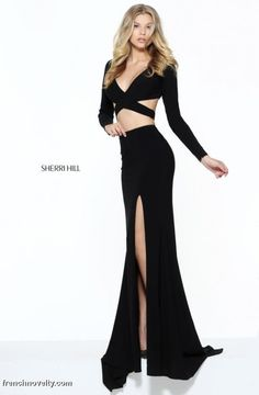 Size 6 Black Sherri Hill 50920 Long Sleeve 2 Piece Gown 71f820d06