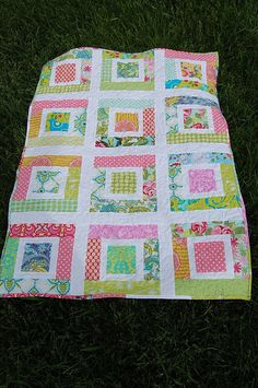 Lulu's Quilt PDF PaTTeRN - Easy Baby Quilt - Scraps Jelly Roll Charm Squares - PDF. $6.00, via Etsy.