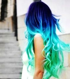 Clip in Hair Extensions // Aqua Blue Ombre // Human Remy Hair Extensions // 18 inch 2 pieces // Punk Color // /Highlights