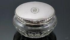 Lovely Antique Art Deco Kerr Sterling Silver & Cut Glass Dresser Jar w/Mono LGF