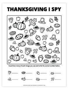 Thanksgiving I Spy Game | Free Printable Thanksgiving Activities