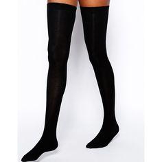 ASOS Thigh High Socks ($9.02) ❤ liked on Polyvore featuring intimates, hosiery, socks, thigh high socks, ribbed socks, asos, breathable socks and thigh high hosiery