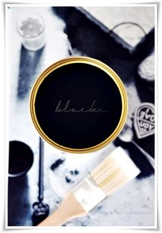 chalkboard paint on jar lids? Favorite Paint Colors, My Favorite Color, My Favorite Things, Make Do And Mend, Touch Of Gold, All Black Everything, Colour Board, Black Decor, Looks Cool