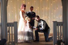 Allen saying vows to Andrea's little girl, so sweet Got Married, Getting Married, Destination Wedding, Wedding Venues, Receptions, Vows, Gazebo, Backdrops, Dream Wedding