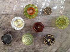 Eclectic Collection of 8 (Eight) Knobs /  Vintage Citrus Collection / Brass, Ceramic, Glass. $59.95, via Etsy.