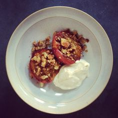 Grilled peaches with amaretto, almond crumb, mascarpone cream