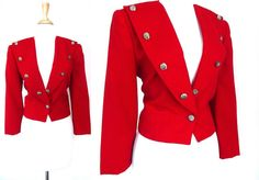 Red Nautical Crop Blazer by VolereVintage on Etsy, $44.00