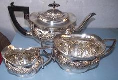 Victorian Silver Plated Embossed Teaset Teapot Cream Jug Sugar Bowl Sheffield in Antiques, Silver, Silver Plate | eBay
