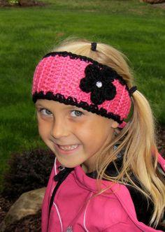 Adorable Girls Crochet Ear Warmer Headband from Jackie Crochet Designs #winter #headband  $10.00