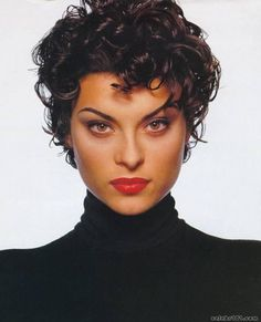 French model Magali Amadei was studying ballet at the Opera House in Nice when she was discovered at the age of Noted for her resemblance to the young Sophia Loren. Short Curly Hairstyles For Women, Short Sassy Hair, Short Hair With Layers, Curly Hair Cuts, Wavy Hair, Short Hair Cuts, New Hair, Curly Hair Styles, Magali Amadei