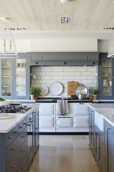 Farmhouse Kitchen design with gray cabinets and white countertops - Modern Farmhouse Kitchen Ideas & Decor