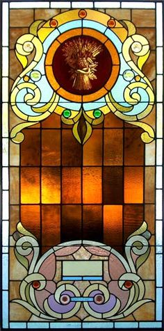 americanvictorian stained glass windows | American Victorian Acid Etched And Stained Glass Window Circa 1895