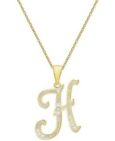 Womens nadri initial pendant necklace 45 liked on polyvore diamond accent script initial pendant necklace in 18k gold plate gold aloadofball Image collections