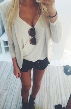 Summer Outfit Inspiration; White Fitted Blazer, Simple White Blouse Tucked into Black Shorts.