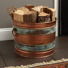 Squared Copper Bucket with Heavy Duty Handle - Fireplace and Hearth - Home Accents
