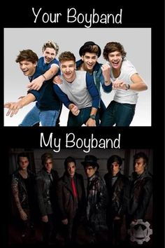 THERE IS A DIFFERENCE BETWEEN BOYBANDS AND BANDS. THE TOP IS A BOY BAND BECAUSE THEY ARE CHILDREN. THE BOTTOM ONE IS A BAND BECAUSE THEY ARE MEN.