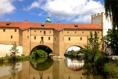 The Old Town in Amberg, Bavaria, Germany, is nicknamed the Ei (Egg) after the shape of its intact city wall. The Stadtbrille is Amberg's best-known structure. Video tour: https://www.youtube.com/watch?v=hk62_T5YEBs