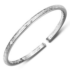 Women's 999 Sterling Silver Flower Carved Cuff Bracelets 25g Weight for Wedding Gift >>> More info could be found at the image url.