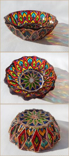 RichanaDragon ||| Asian steppe. Glass salad bowl (candle holder) with Asian bright composite geometrical pattern in rainbow colors. Hand painted stained glass. ||| ○ SIZE: 11 (diam.) x 4 (hgt.) cm / 4.33 (diam.) x 1.57 (hgt.) inch ○ NET WEIGHT: 200 g / 0.44 lb