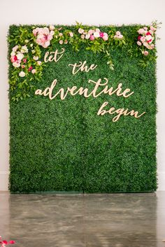 Photography by Mikkel Paige Photography Engagement Stage Decoration, Wedding Stage Decorations, Flower Wall Wedding, Wedding Flowers, Green Wall Decor, Background Decoration, Wall Backdrops, Backdrop Design, Wedding Background