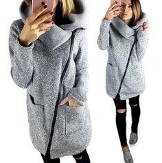 2018 New Fashion Women wool   blends Autumn Winter women coat Side zip coat  jacket coat ec91645512d4