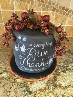 Give Thanks!  Give Thanks! double barrel chocolate cake Free hand design  #featured-cakes #graceheer #leannew #cakecentral