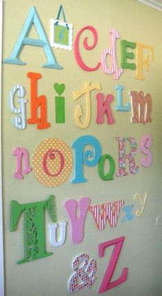 More Alphabet Wall Art! Love this for kids play area downstairs or halies room in these colors....or change the colors for Caleb's room!!